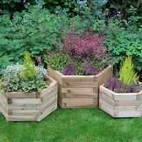 York Hexagonal Wooden Garden Planter Set of 3