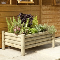 Raised Log Garden Planter