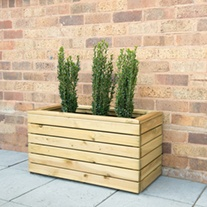 Linear Wooden Planter Double