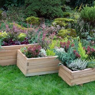 Durham Rectangular Wooden Planter Set of 3