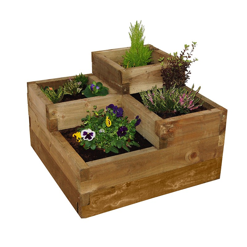 Caledonian Tiered Wooden Raised Bed From Woolmans Plants